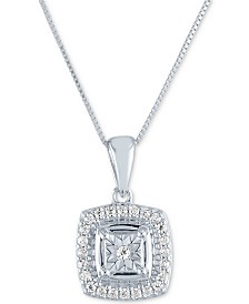 "Diamond Cluster 18"" Pendant Necklace (1/8 ct. t.w.) in 10k White Gold"