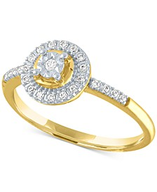 Diamond Halo Ring (1/8 ct. t.w.) in 10k Gold