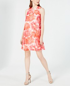 Calvin Klein Printed Sleeveless Swing Dress