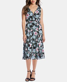 Karen Kane Printed Faux-Wrap Midi Dress