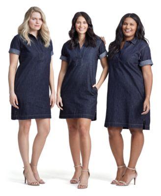 Plus Size Cotton Denim Shift Dress