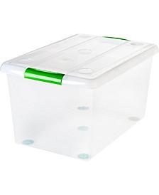 Iris 61 Quart Store and Slide Storage Box- Green Handle, 6 Pack,