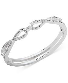 Anne Klein Silver-Tone Crystal Interlock Hinge Bangle Bracelet, Created for Macy's