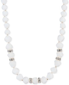 "Anne Klein Gold-Tone White Faceted Bead Collar Necklace, 16"" + 3"" extender"