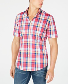 Club Room Men's Plaid Short-Sleeve Shirt, Created for Macy's