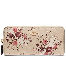 COACH Floral Print Accordion Zip Wallet