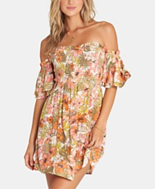 Billabong Juniors' Dancing Sun Smocked Off-The-Shoulder Dress