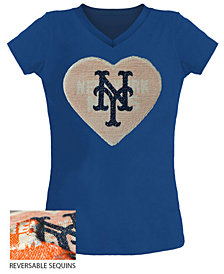 5th & Ocean Big Girls New York Mets Flip Sequin T-Shirt