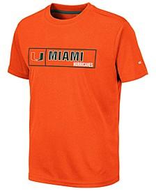 Big Boys Miami Hurricanes Boxed Logo Polyester T-Shirt