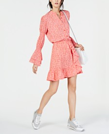 MICHAEL Michael Kors Printed Shirt & Ruffled Skirt