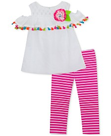 Rare Editions Little Girls 2-Pc. Cold Shoulder Tunic & Leggings Set