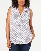 034c20ac9b Charter Club Plus Size Sleeveless Iconic V-Neck Top, Created for Macy's