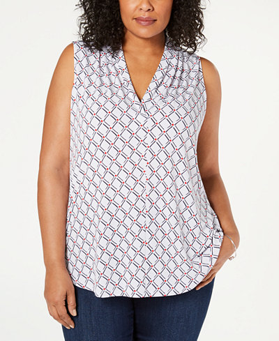 Charter Club Plus Size Sleeveless Iconic V-Neck Top, Created for Macy's