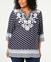 44df338357e Charter Club Plus Size Woven Embroidered Tunic, Created for Macy's