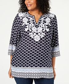 Charter Club Plus Size Woven Embroidered Tunic, Created for Macy's