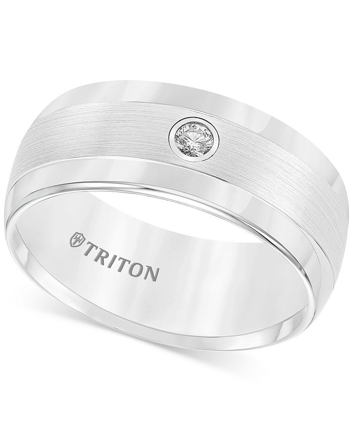 Triton - Men's Diamond Wedding Band in White Tungsten Carbide (1/10 ct. t.w.)