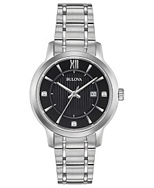 Bulova Women's Diamond-Accent Stainless Steel Bracelet Watch 32mm, Created for Macy's