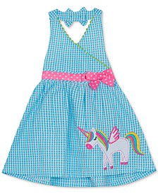 Rare Editions Toddler Girls Gingham Unicorn Halter Dress