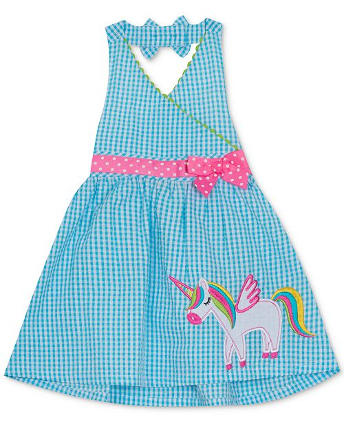 Rare Editions Little Girls Gingham Unicorn Halter Dress