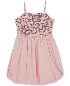 BCX Big Girls Sequin Lace Bubble Dress
