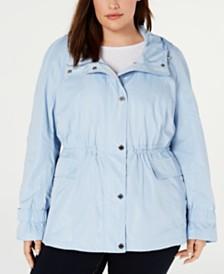 Calvin Klein Plus Size Drawstring-Waist Utility Jacket