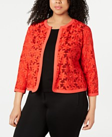 Anne Klein Plus Size Embroidered Cardigan