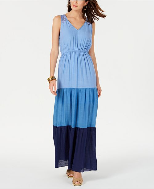 NY Collection Petite Colorblocked Maxi Dress