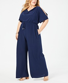 John Paul Richard Plus Size Split-Sleeve Jumpsuit