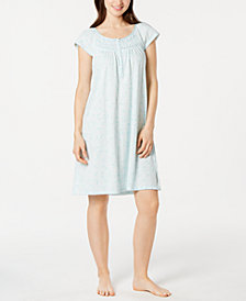 Miss Elaine Floral-Print Smocked Short Nightgown