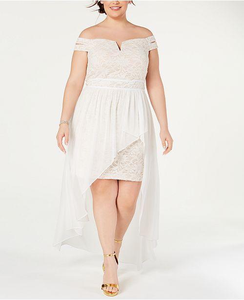 Morgan & Company Juniors\' Trendy Plus Size Lace Off-The-Shoulder ...