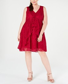 Taylor Plus Size Ruffled Lace Dress