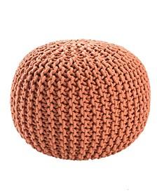 Visby Orange Textured Round Pouf