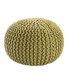 Visby Green Textured Round Pouf
