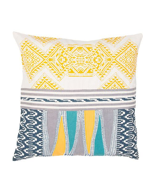 """Jaipur Living Museum Ifa By Mesa Yellow/Teal Geometric Poly Throw Pillow 22"""""""
