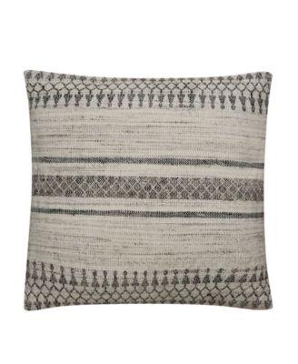 "Prescott Gray/Ivory Geometric Down Throw Pillow 20"""