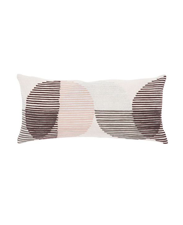 "Jaipur Living Nikki Chu By Salamanca Pink/Ivory Geometric Poly Throw Pillow 10"" x 21"""