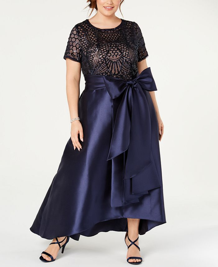 R & M Richards - Plus Size High-Low Gown