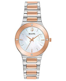 Bulova Women's Modern Diamond-Accent Two-Tone Stainless Steel Bracelet Watch 32mm