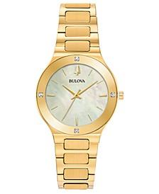 Women's Modern Diamond-Accent Gold-Tone Stainless Steel Bracelet Watch 32mm