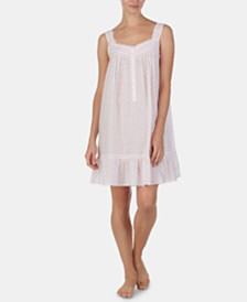 Eileen West Pintuck-Trim Floral-Print Cotton Chemise Nightgown