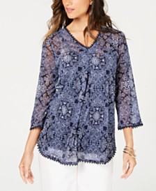 Charter Club Petite Printed Tunic Camisole Top, Created for Macy's