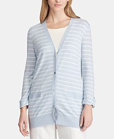 Lauren Ralph Lauren Roll-Tab Striped Cardigan