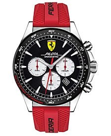 Men's Chronograph Pilota Red Silicone Strap Watch 45mm
