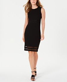 Calvin Klein Petite Illusion-Stripe Sheath Dress