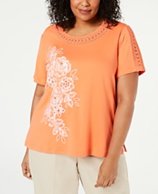 Alfred Dunner Plus Size Martinique Short-Sleeve Top