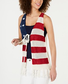 Collection XIIX Stars & Stripes Crochet Tassel Vest