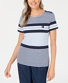 Sport Danielle Striped Scoop-Neck Top, Created for Macy's