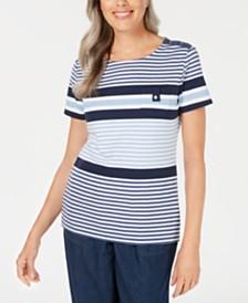 Karen Scott Petite Danielle Striped Scoop-Neck Top, Created for Macy's
