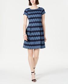Jessica Howard Petite Flower Stripe Lace Fit & Flare Dress
