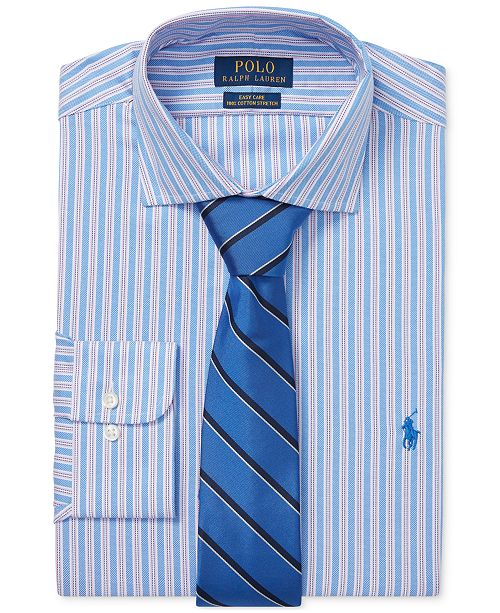 90950213d62 ... Polo Ralph Lauren Men s Classic Regular Fit Easy Care Stretch Striped Dress  Shirt ...